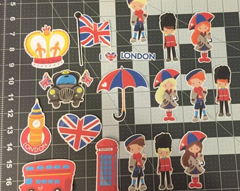 Scrapbooking Die Cuts- London- British- 20 piece set. Sizes can be adjusted upon request.