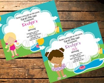 You choose girl, Pool Party Invitation