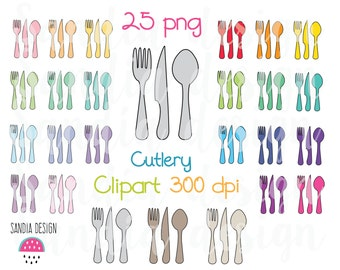 25 Cutlery Clipart, Meal plan, fork, knife and spoon clipart. Personal and comercial use.