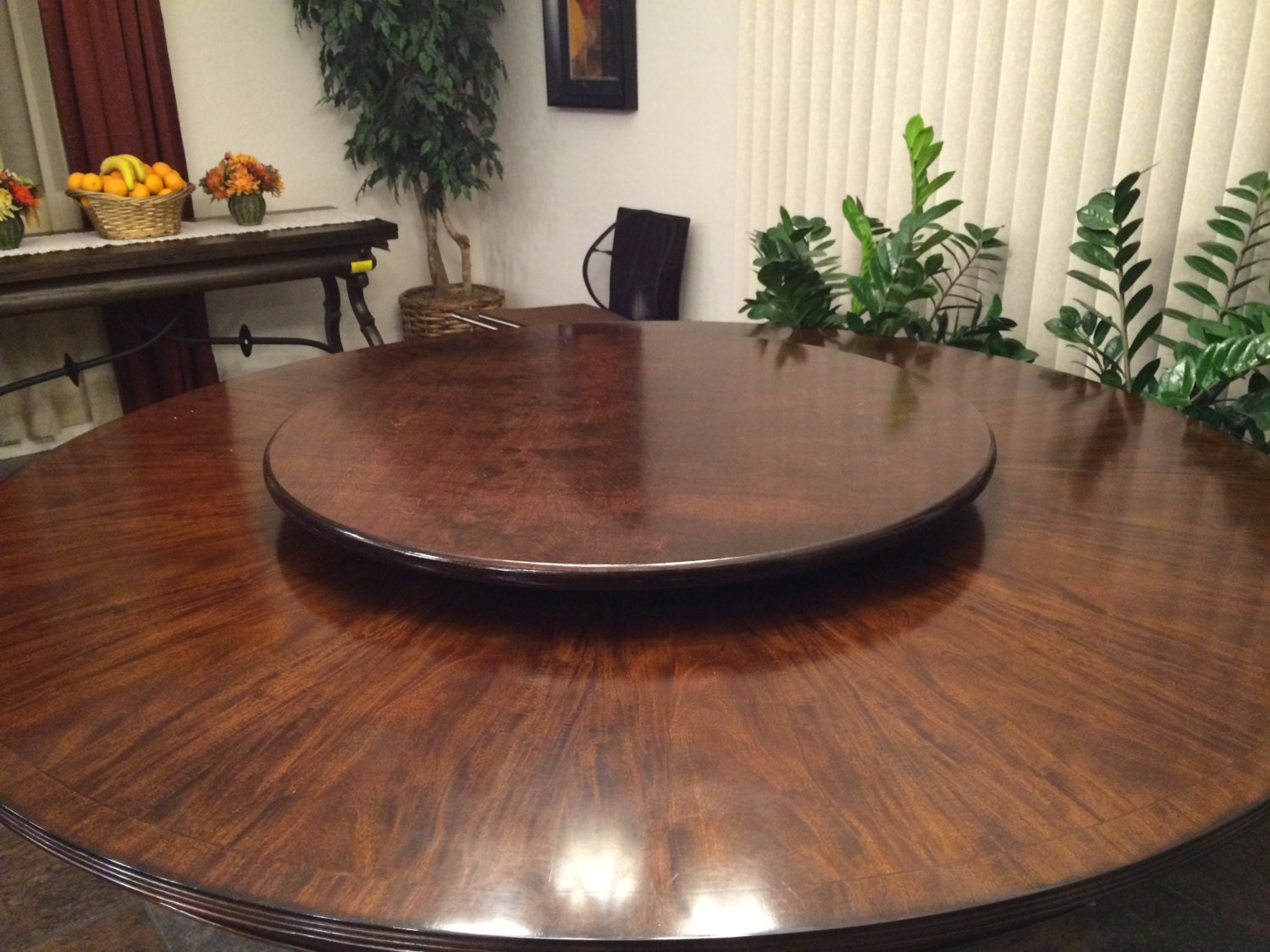 Dark wood lazy susan table centerpiece