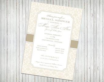 Gold and White Bridal Shower Invitation