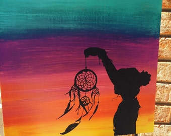 Dream catcher girl hand painted wood sign.