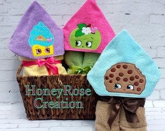 Cookie, Apple, Cupcake, hooded towel.Embroidered hooded towel.