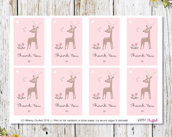 Woodlands Baby Shower Thank You Gift Tag Printable
