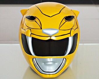 1:1 Scale Halloween Costume, Mighty Morphin Power Ranger Helmet Costume Mask, Power Ranger Cosplay Yellow Ranger PR17