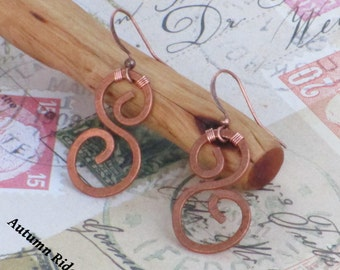 """FREE SHIPPING - Use Code """"SHIPFREE17"""" @ Checkout - Hammered 'S' Copper Earrings"""
