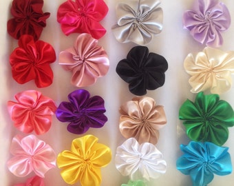 5.5cm x 20  satin ribbon flowers, DIY hair accessories, fabric flowers, for DIY headbands, colours as per photo