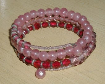 Vintage, Meticulously Designed Cranberry Glass Crystal, Opalescent Pink Glass & Seed Bead Memory Coil Bracelet