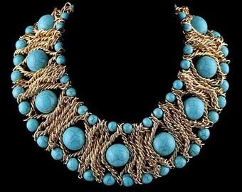 Metal chain & turquoise bohemian choker necklace