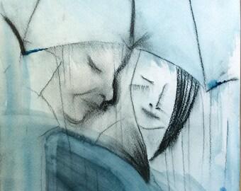 Strangers Original Watercolor Painting Rain Painting Abstract Wall Art