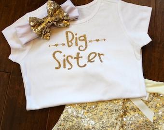 Big Sister Shirt, Big Sister Onesie, Big Sister Glitter Shirt, Big Sister Personalized Shirt, Glitter Shirt, Gold Glitter Shirt