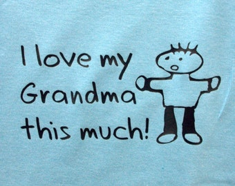 baby boy onsie - I love my Grandma this much! - blue infant creeper - personalized
