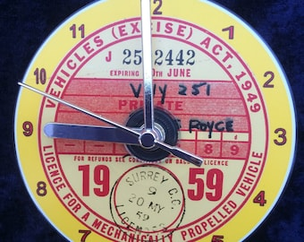 Vintage 1959 TAX DISC CD Clock (Can be Personalised)