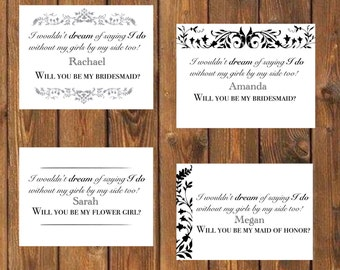 Bridesmaid, maid of honor, and flower girl card
