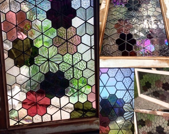 Handmade Stained Glass Geometric Flower Panel