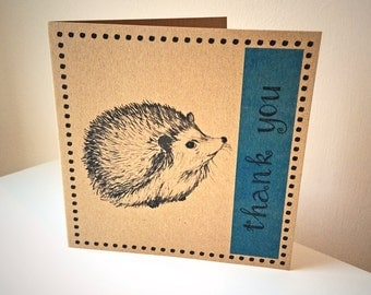 Hedgehog thank you card, blue hedgehog card, woodland animal recycled card, hedgehog illustration greeting card, hedgehog lover UK