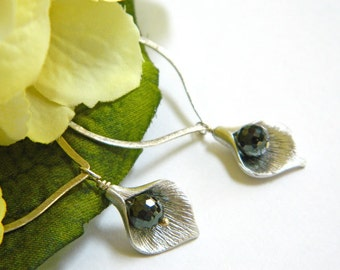 Long Silver Earrings, Black Earrings, Statement Earrings, Flower Earrings, Crystal Earrings, Handcrafted Jewelry, Leverback Earrings