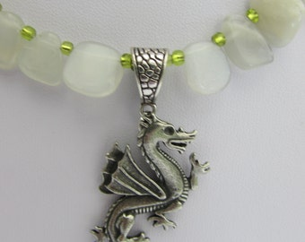 Magical Moonstones and Pewter dragon Pendant