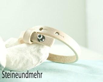 "bracelet leathercord Cuoio 6,3 - 7,8""adjustable IVORY #3516"