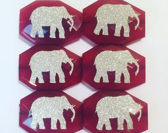 Beads Bama Red Elephant with a sparkle