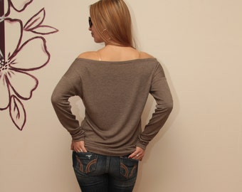 Blouse / Blouse-top /  Light Coffee Top / Long sleeve Blouse