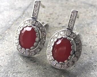 Red Agate Earrings, Cornelian, Vintage Earrings, Red Stone Earrings, Red Earrings, Red Stone, Solid Silver Earrings, 925 Silver Earrings