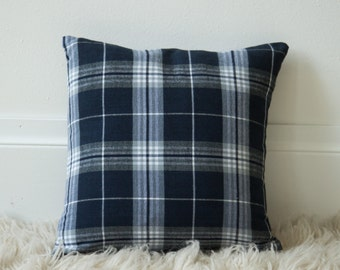 16x16 Navy & Gray Plaid throw pillow cover READY TO SHIP