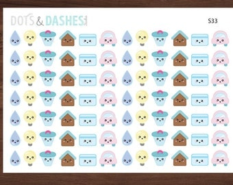 S33-Kawaii bill reminder stickers, water bill, power bill, rent, credit card, car payment reminder (84 Matte Planner stickers)