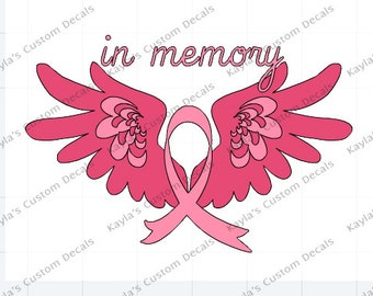 Breast Cancer Wings Car Decal