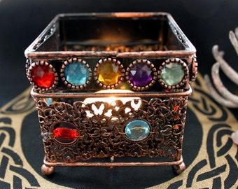 """Tea light holder square """"Bejeweled"""""""