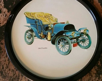 Vintage 1970s Metal Serving Tray with 1904 Franklin Antique Car/Round Metal Decorative Tray/Vintage/Man Cave Decor/Barware/Decor