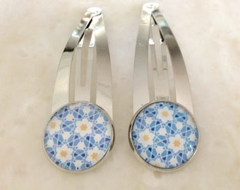 Silver hair clips / set of 2 / Delicate blue with a touch of yellow