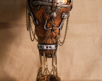 Steampunk Hot Air Balloon made from a lightbulb and polymer clay