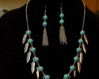 Turquoise, red, silver feathers, jewelry set