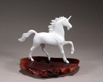 Unicorn Sculpture New Direct by John Perry on Burl Wood 8in Long