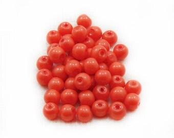 Orange Glass Beads, Glass Beads, Orange Beads, 6mm Glass Beads, 50 pcs Orange Beads, Jewelry Making, Graft Supplies