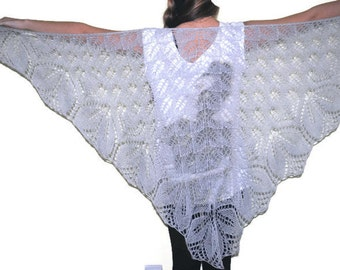 Silver lace wool shawl ,   hand knit shawl, knit wool shawl, women shawl, gift for her, knitted shawl Knitted scarf, silver  shawl,