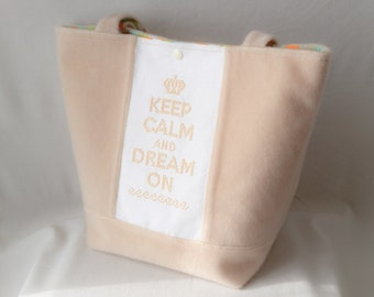 """Keep calm"" handbag beige"