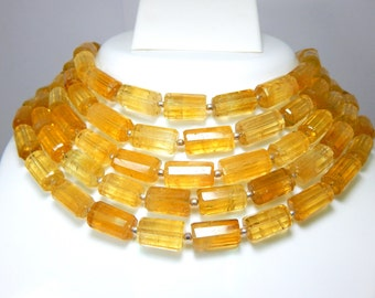 Citrine Faceted Tube Beads 100% Natural Gemstone Size 8x7.2 to 16x10.2 mm Approx  Code - 0C1