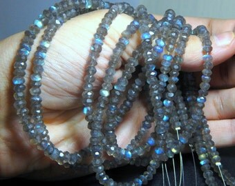 Labradorite Blue Flash Faceted Roundelle Beads 100% Natural Gemstone Size 5x4.2 mm Approx Code - 0115