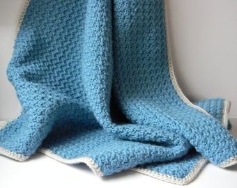 Blue Crocheted Baby Blanket With Cream Border