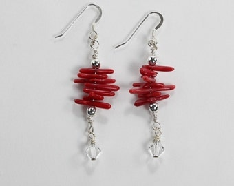Silver Filled, Red Coral and Swarovski Crystal Earrings