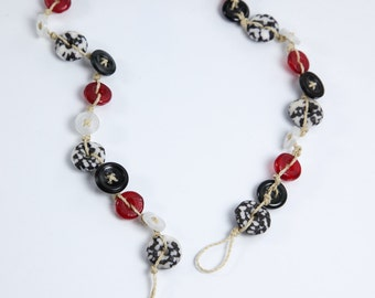 Button Necklace, African Krobo Bead Necklace, Red White & Black Necklace