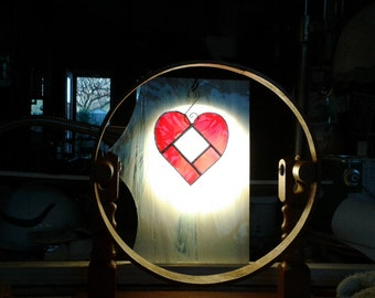 Stained Glass Heart Suncatcher with Bevel