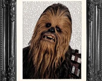 Chewbacca Art- Star Wars Movie Poster- Star Wars Geek Print- Boyfriend Gift- Wookie Print- Husband Gift- Star Wars Poster- Dorm Decor