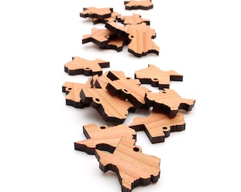 Mini Texas Charms made from Black Cherry Wood - Cut Out Jewelry Accessory findings crafted by Nestled Pines