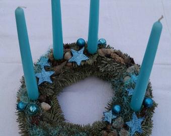 Blue Christmas wreath Advent wreath Seasonal wreath Seasonal home decor Turquoise wreath Natural Christmas wreath wreath with candles