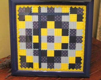 Framed Paper Quilt/Blue and Yellow/Bedroom Decor/Bathroom Decor