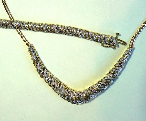 24K GOLD VERMEIL ~ 925 Sterling Silver Base ~ Diamond Embellished Necklace and Bracelet Set ~ BEAUTIFUL ~ Vintage ~ Very Feminine