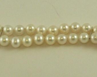 Freshwater Pearl Double Strand Bracelet 14k White Gold Clasp & 14K Gold Bars